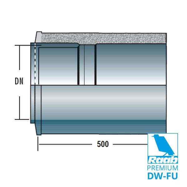 Rohrelement 500 mm kürzbar mit Doppelwandfutter | Raab PREMIUM – DW-FU