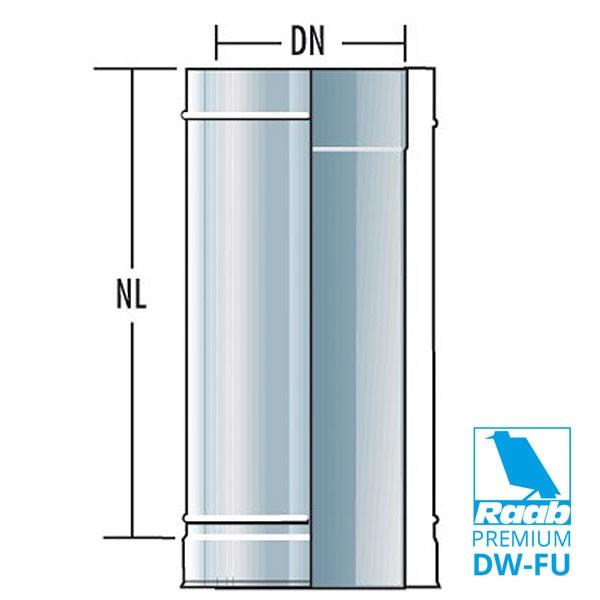 Rohrelement 1000 mm - doppelwandig | Raab PREMIUM – DW-FU
