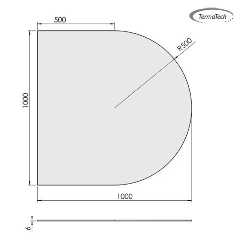 Glasbodenplatte ESG 6mm Klarglas | Rundbogen Klein