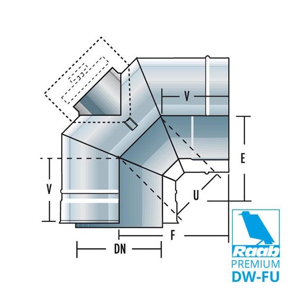 Bogen 90° für Reinigungsdeckel - doppelwandig | Raab PREMIUM – DW-FU