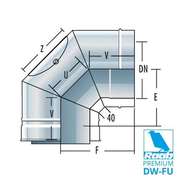Bogen 90° mit Reinigungsöffnung - doppelwandig | Raab PREMIUM – DW-FU