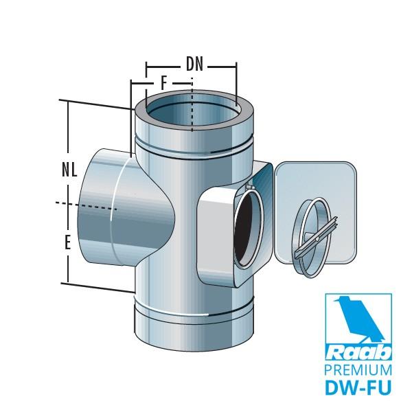 Kombiteil Feuerungsanschluss 90° mit Reinigungsöffnung | Raab PREMIUM – DW-FU